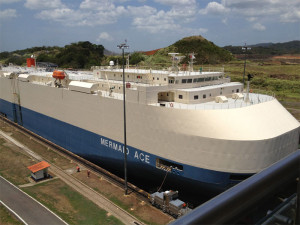 Panamax Ship in the Miraflores Locks