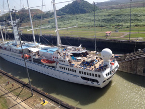 Windstar Cruise Ship in Locks