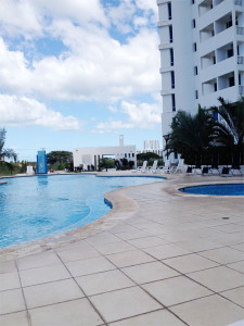 Our condo building with pool