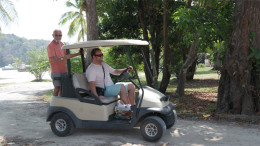 Frank & Nik Traveling by Golf Cart