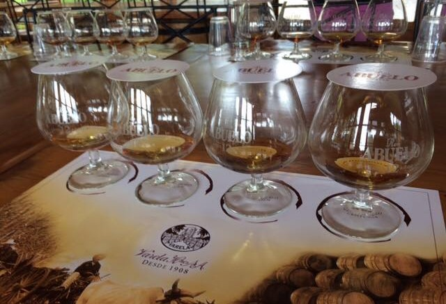 Glasses set up for tasting